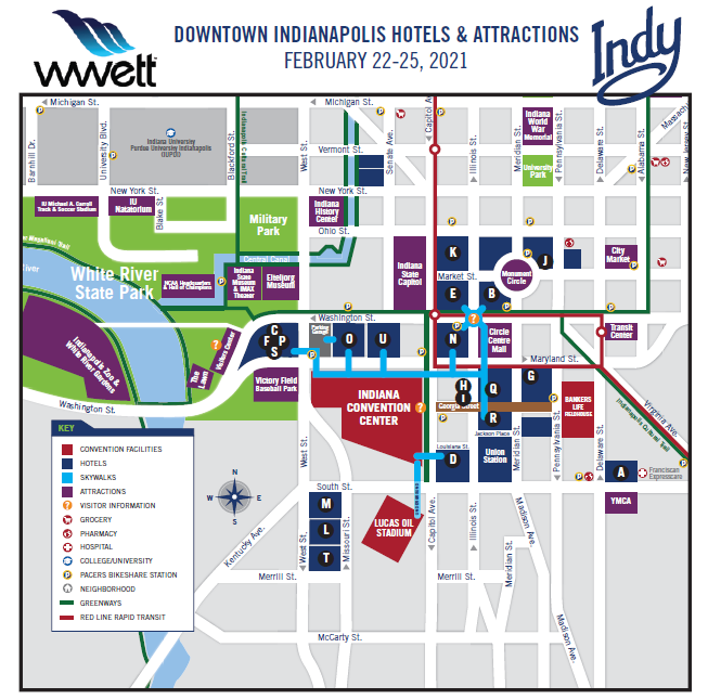 colorful map of Indy downtown hotels and attractions