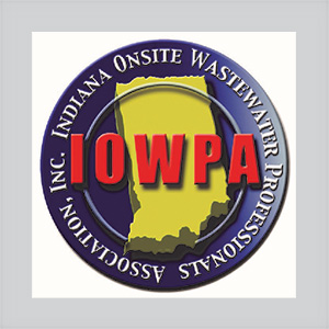 Indiana Onsite Wastewater Professionals Association logo which consists of a circle with blue base color, yellow image of state of Indiana, and red IOWPA lettering