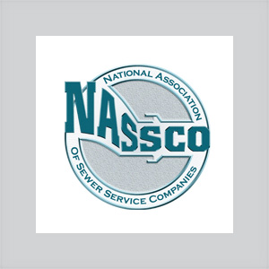 logo of NASSCO National Association of Sewer Service Companies circular with green lettering grey center