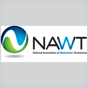 rectangle logo of National Association of Wastewater Technicians wording in the center colors are blue green, black and white