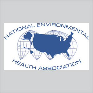 logo for National Environmental Health Association with an image of the United States in the center and a global image surrounding