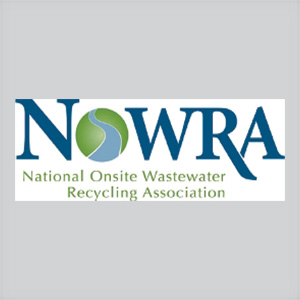 National Onsite Wastewater Recycling Association logo with blue, light green lettering on white background
