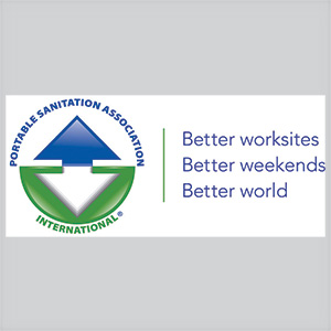 Portable sanitation association international logo blue, green and white colors