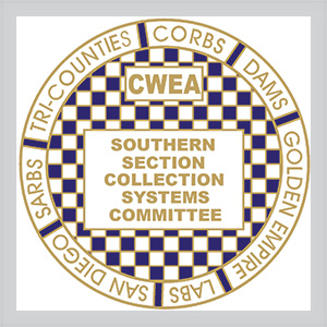 Southern section collection systems committee logo center is a checker board of small squares blue and white with gold edging