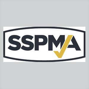 SSPMA logo black and white with a gold colored check mark