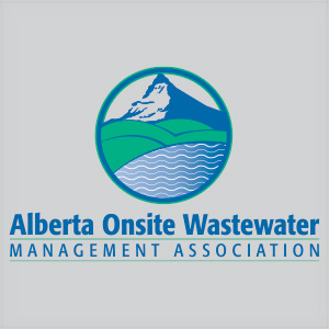 Alberta Onsite Wastewater Management Association logo consisting of a circle with picture of a mountain, green hills, and running water