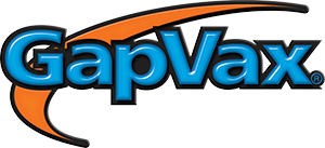 GapVax logo bold blue and black letters and an orange swish