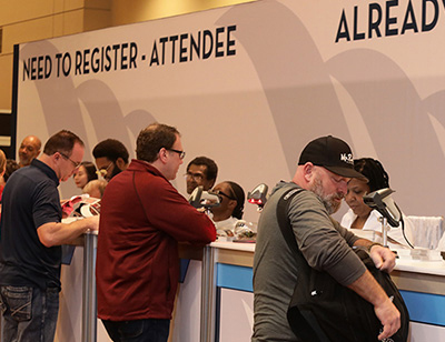 Wastewater industry attendees registering